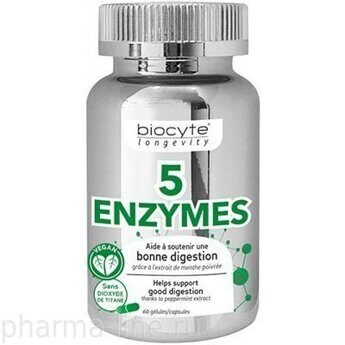 BIOCYTE 5 Enzymes, 60 капсул
